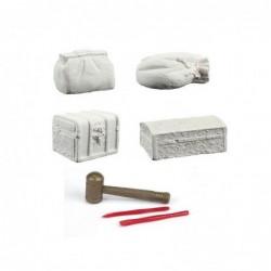 Udgravning Sæt Med Fire Kalk-blokke