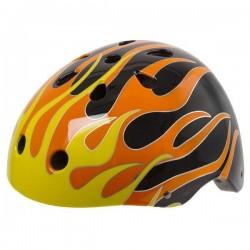 Ventura Cykelhjelm Skater Model Sort/Gul Flammer : Hjelm Størrelse - M / 54-58 cm