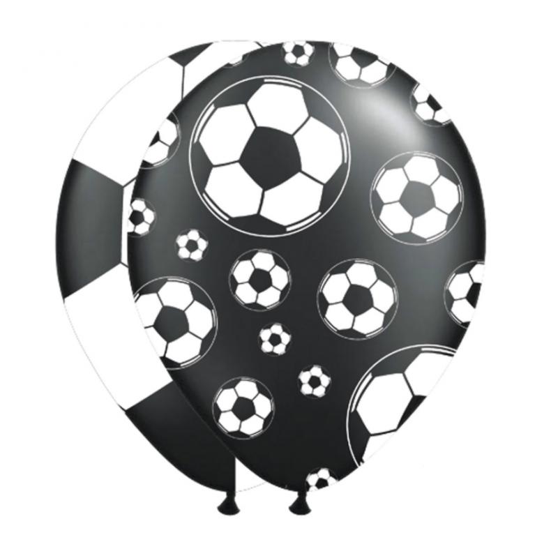 8 Stk. Balloner Med Fodbolde Ø 30 cm Sort