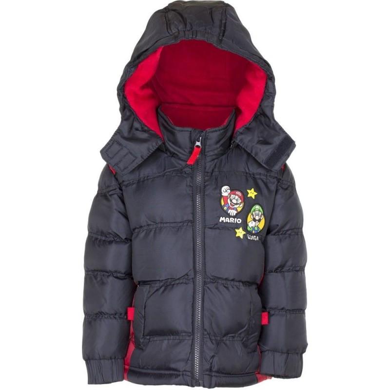 Varm Vinterjakke Med Super Mario og Luigi 3-4 År : Alder - 3 år / 98 cm, Farve - Sort