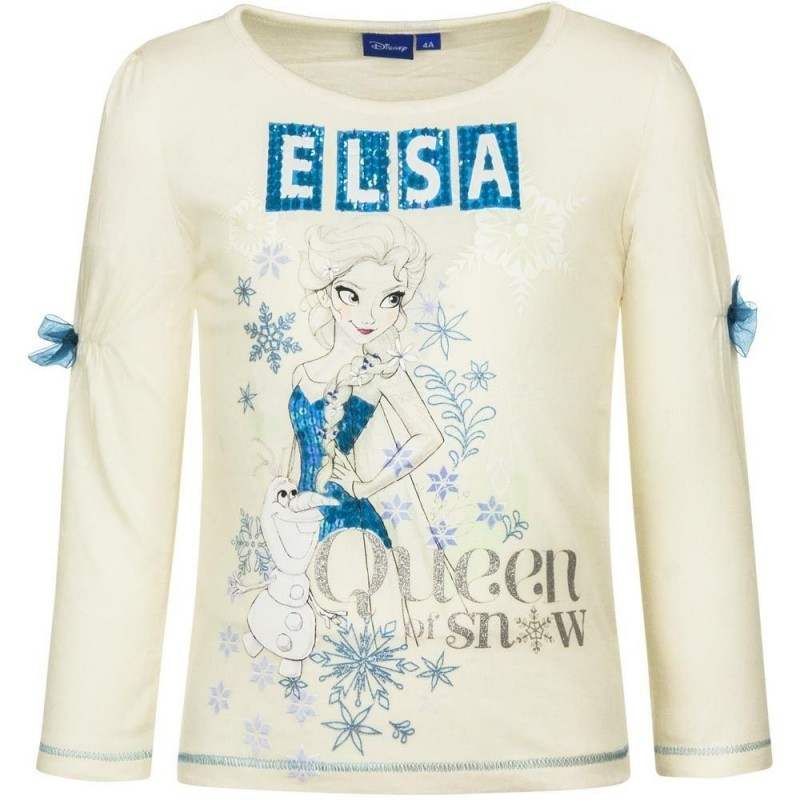 Frost Langærmet T-shirt Til Piger Fra 4-8 År Palliet Logo : Farve - Hvid, Alder - 6 år / 116 cm