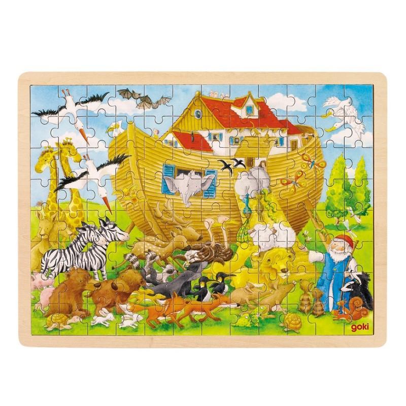 Træ Puslespil Med Noas Ark 96 Brikker