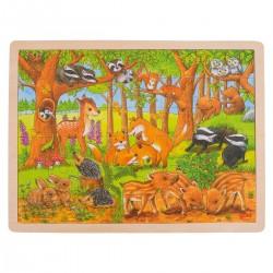 Træ Puslespil Med Forår i Dyreparken 48 Brikker