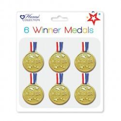 6 Stk. Medaljer Til Børn - Winner